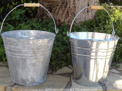 Littlemissmaggie making new galvanized buckets look old for How to decorate a bucket