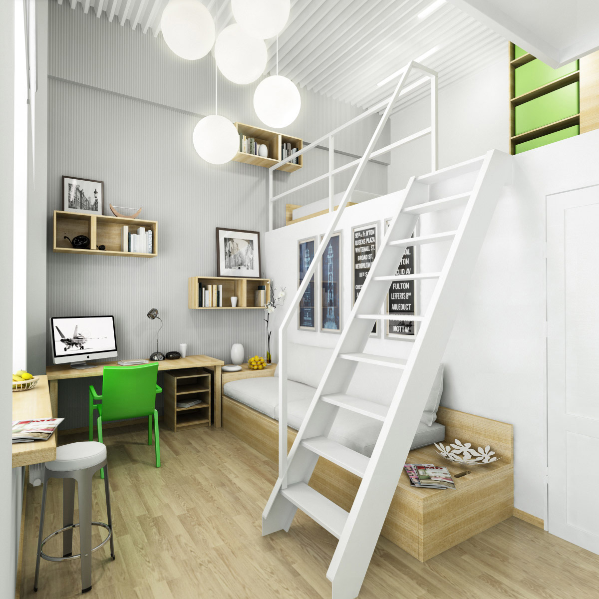 Teen workspaces home design - Mezzanine bedlamp ...