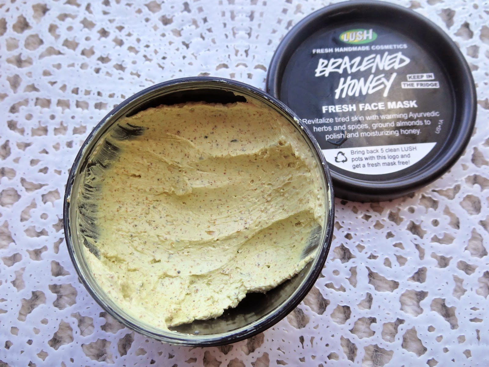a picture of Lush Brazened Honey Fresh Face Mask (review)