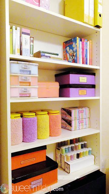 An organized craft supplies area