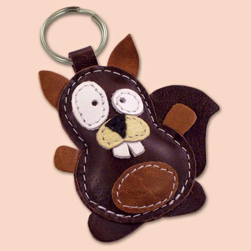 Handmade Squirrel Leather Keychain
