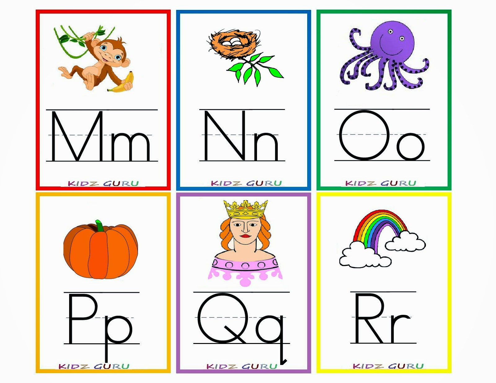 Comprehensive image with printable alphabet flashcards