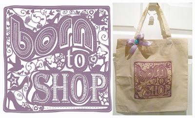 Born to shop eco friendly cotton bag in purple
