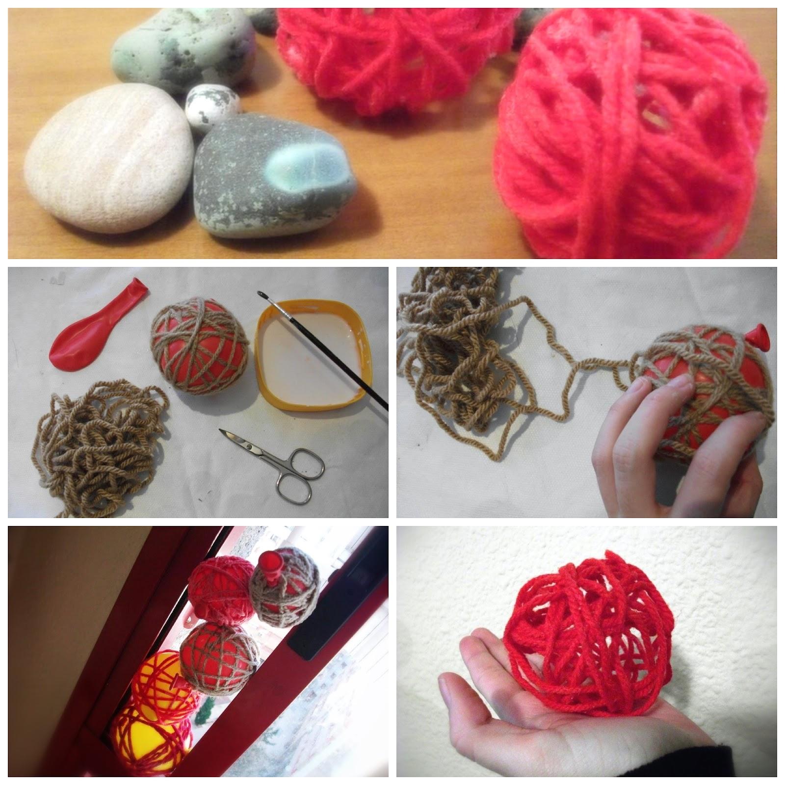 El blog de lorenna diy bolas de lana - Como hacer adornos de navidad paso a paso ...