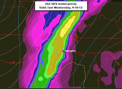 06Z GFS model output precipitation for Wednesday, April 10, 7pm CDT