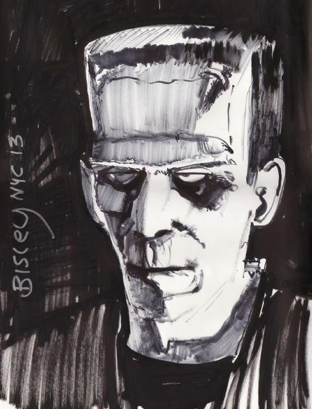 Dessin de Simon Bisley représentant frankenstein en noir et blanc