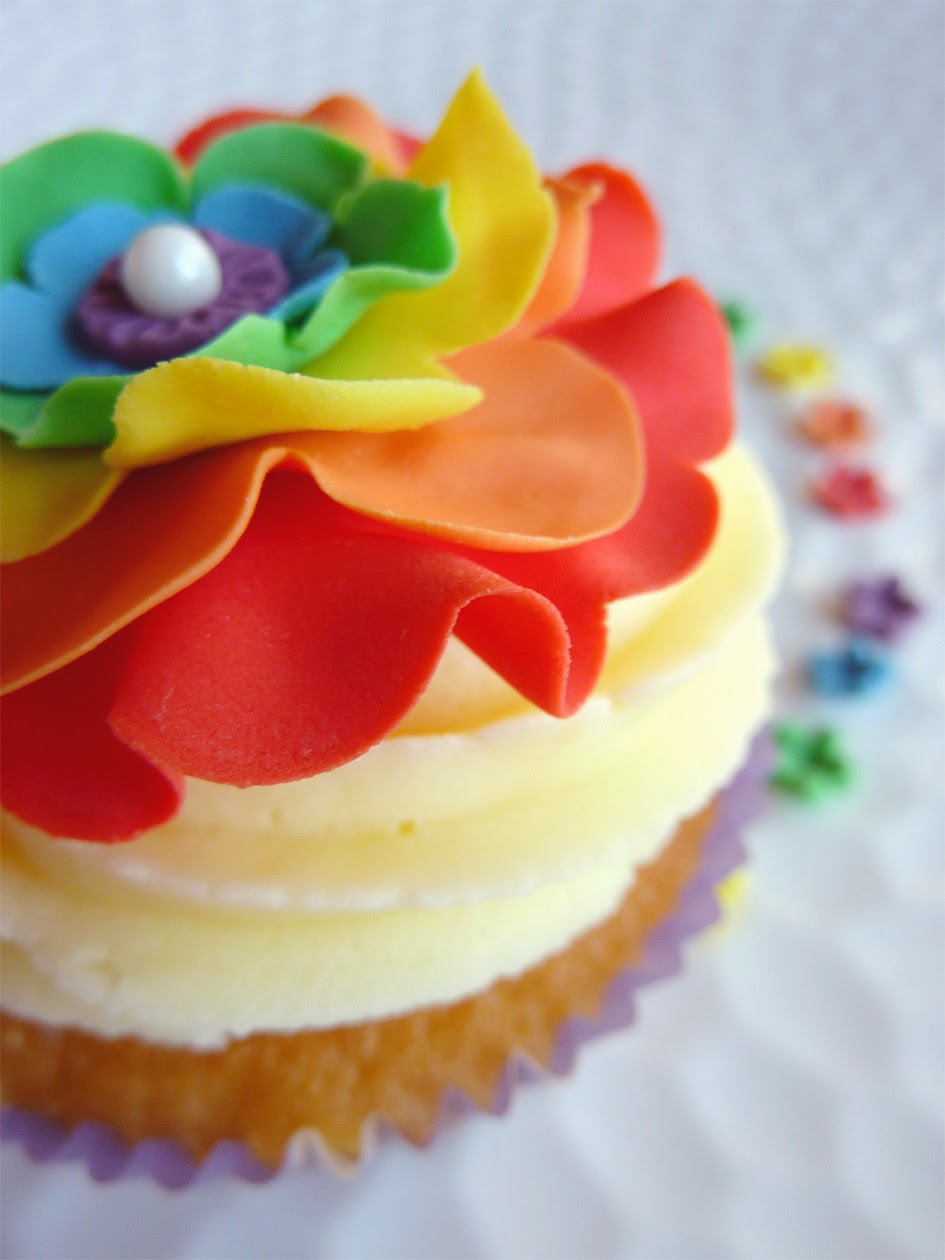 Rainbow Ruffled Fondant Flower Cupcake