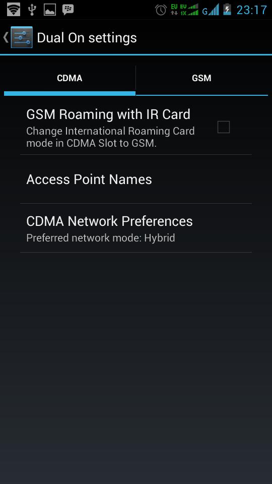 Pada GSM Roaming with IR Card ter-centang, dan ternyata tanda centang ...