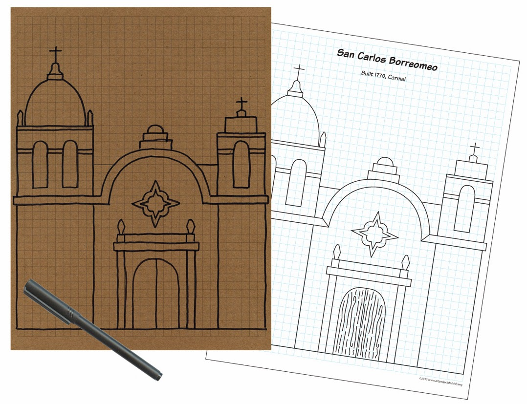 California Mission Drawing Guide Art Projects For Kids