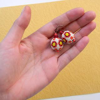 купить серьги из бисера украина с цветочками народные этника
