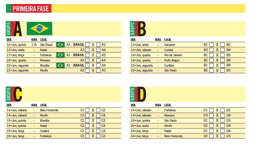 Baixe ou imprima a tabela da Copa do Mundo de 2014 clicando aqui