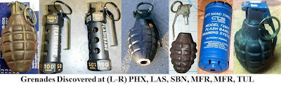 A total of eight inert/novelty/replica grenades were found this week in checked baggage. Two were discovered at Medford (MFR), two more at South Bend (SBN), and the others were found at Phoenix (PHX), Anchorage (ANC), Tulsa (TUL), and Las Vegas (LAS).