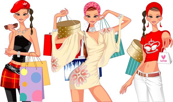 mujer muy mona de compras d