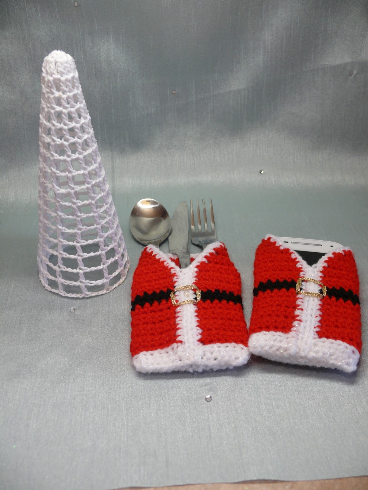Knitting Pattern For Christmas Cutlery Holder : String Theory Crochet: Free Crochet Pattern For Santas Vest Cutlery Holder or...