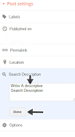enabled write your blogger post search descrition here