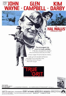 True Grit Movie Poster from 1969 starring John Wayne, Glen Campbell, and Kim Darby