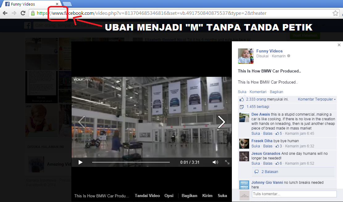 cara download video dari facebook