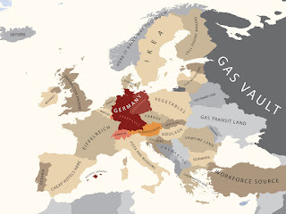 A 'political' map of Europe according to, allegedly, Germany