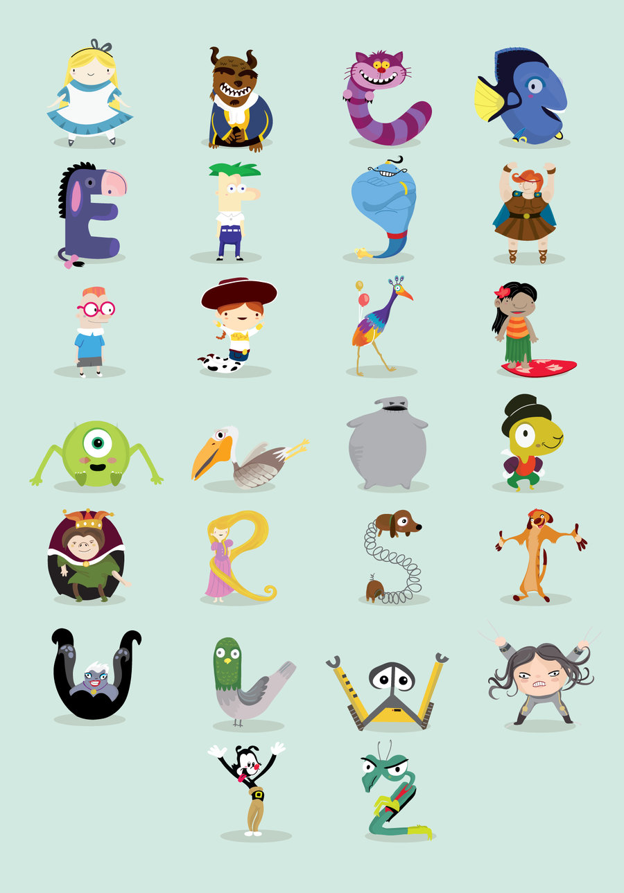 4 Letter Cartoon Characters : Art quot animated characters alphabet