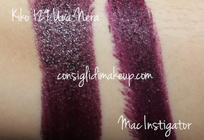 recensione gossamer emotion creamy lipstick kiko 129 uva nera swatch