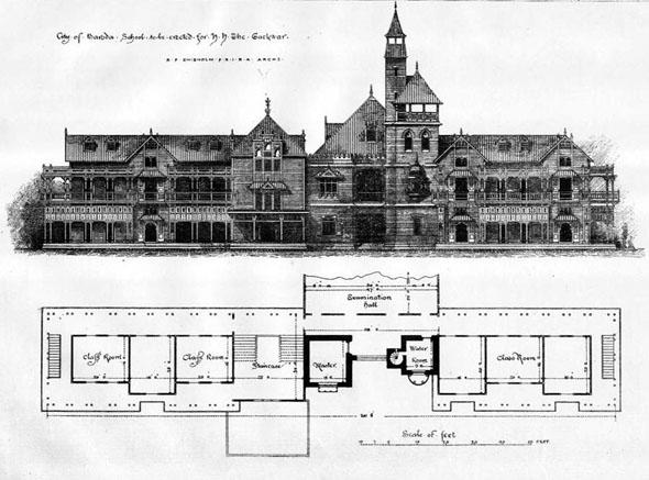 1888 baroda school vadodara india arche drishtikone for Architecture design for home in vadodara