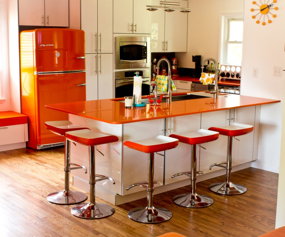 The galley blog orange power 1950 39 s galley kitchen remodel for Modern 50s style kitchen
