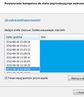 Wybór punktu przywracania systemu windows z listy dostępnych punktów - zrzut