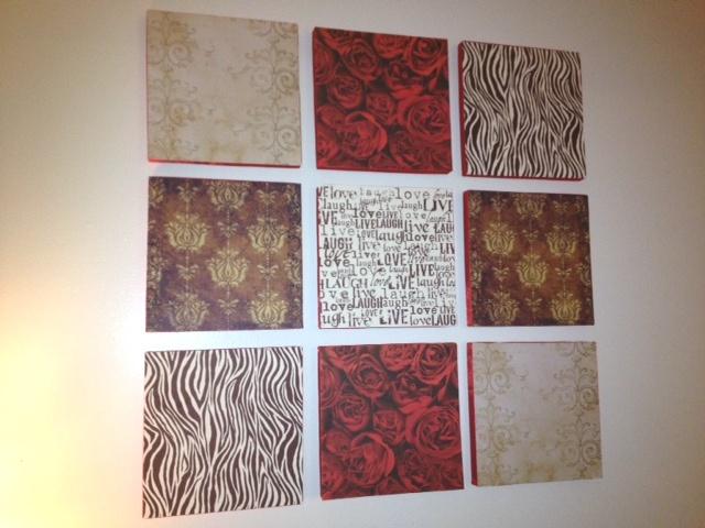Diy Wall Art Using Scrapbook Paper : Thursday night threads diy wall art panels scrapbook