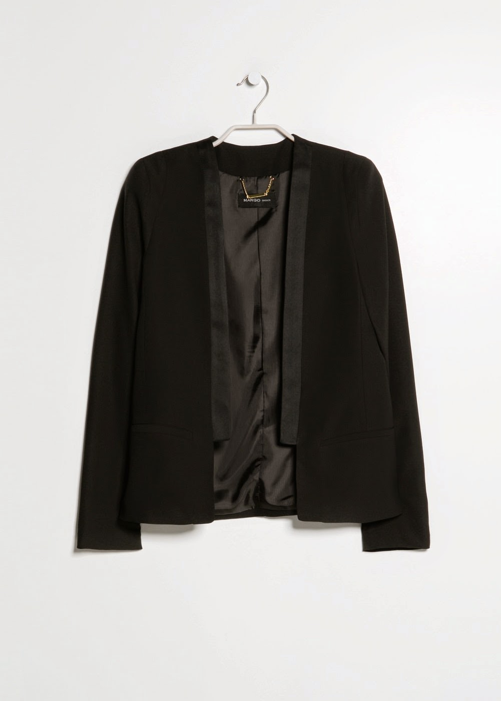 blazer noir mango bords satinés