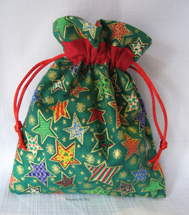 Reusable Drawstring Gift Bags... two gifts in one ~ Threading My Way