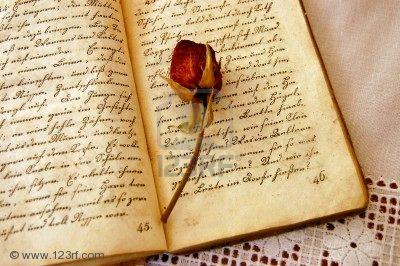 LES MOTS MAUX : douleur, bonheur dans DIVERS 2530512-s-ch-s-rose-rouge-sur-un-vieux-livre-ouvert