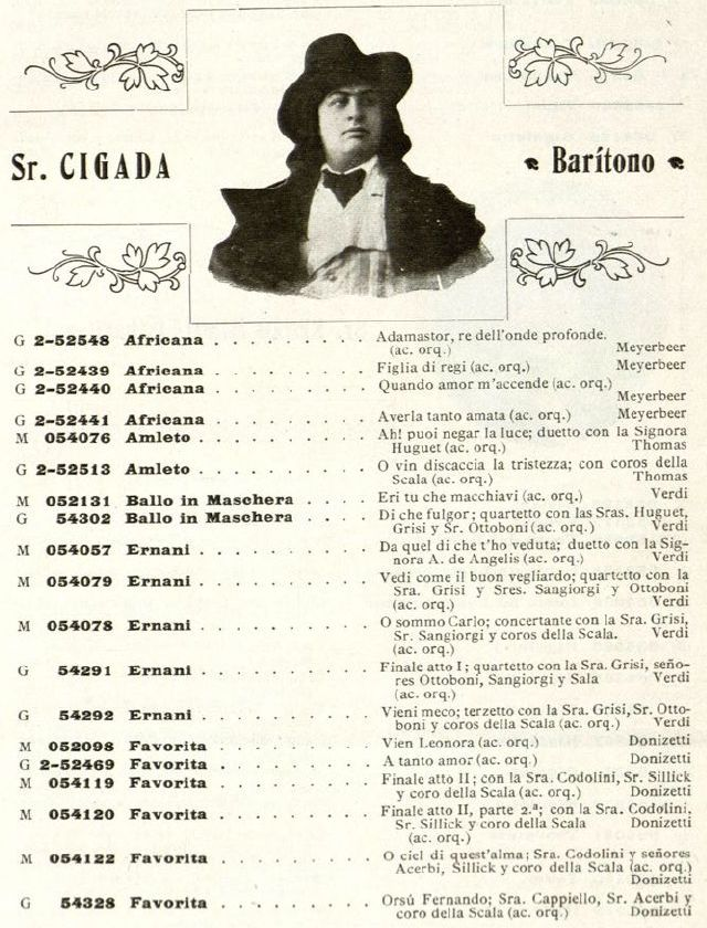 ITALIAN BARITONE FRANCESCO CIGADA (1878-1966) CD
