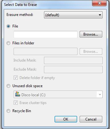ventana select data to erase