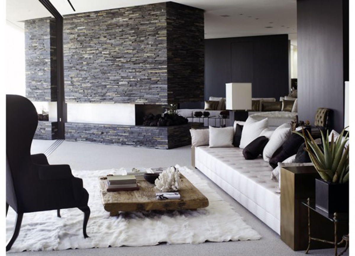 Black and white modern living room design ideas modern for Modern living room black and white
