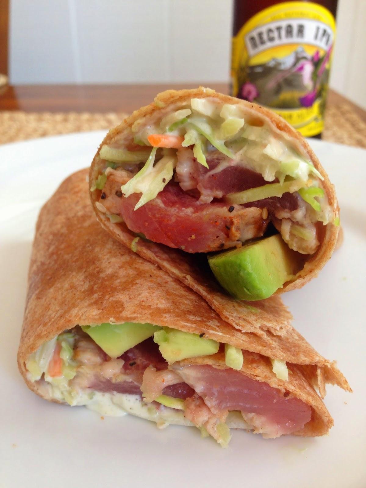 taylor made: seared ahi tuna wraps with wasabi mayo slaw & avocado