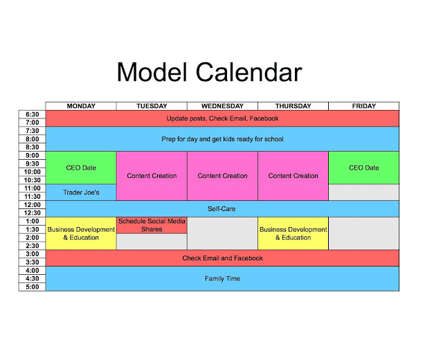Model Calendar Used to Block Time and Improve Productivity