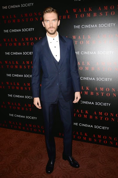 Dan Stevens wears Thom Sweeney suits to screening of A Walk Among the Tombstones and The Guest in New York