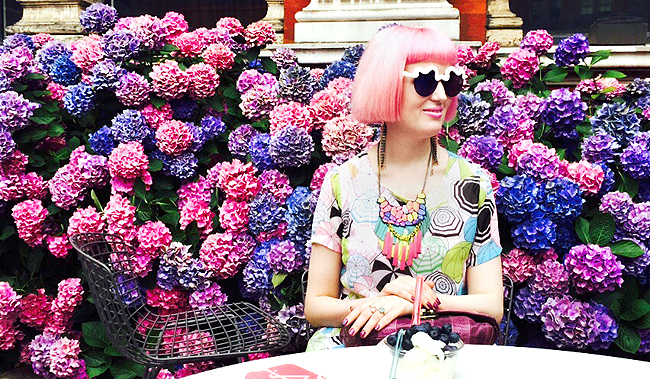 hydrangea, pink hair, v&a london