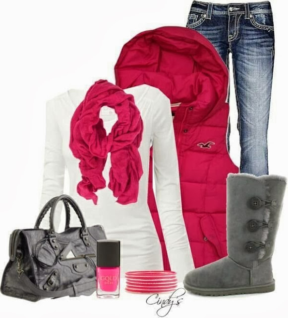 Red scarf, white sweater, jeans, warm boots, hand bag, Perfume