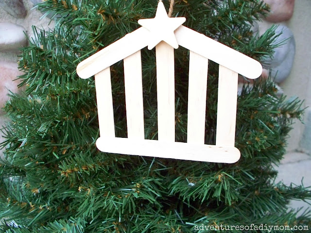 Craft Stick Stable Ornament