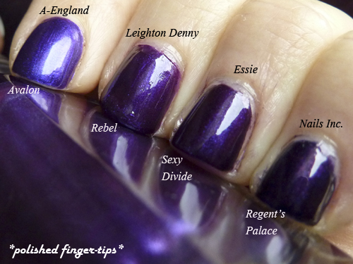 Purple comparisons - Natural light - A-England, Nails Inc, Leighton Denny and Essie