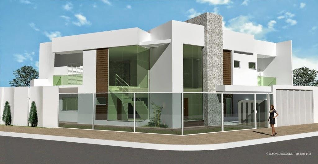 ... De Fachadas De Casas Modernas Com Telhado Embutido E Escondido Product