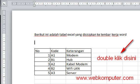 menyisipkan worksheet excel di word 2010