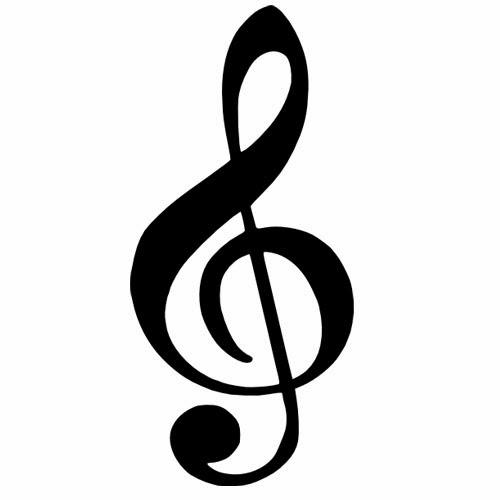 Music Sol key tattoo stencil