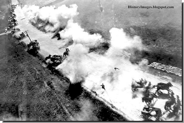 Russian warplanes attack a German column in Belarus. With the Luftwaffe virtually absent from Russian skies, Soviet planes had a free run.