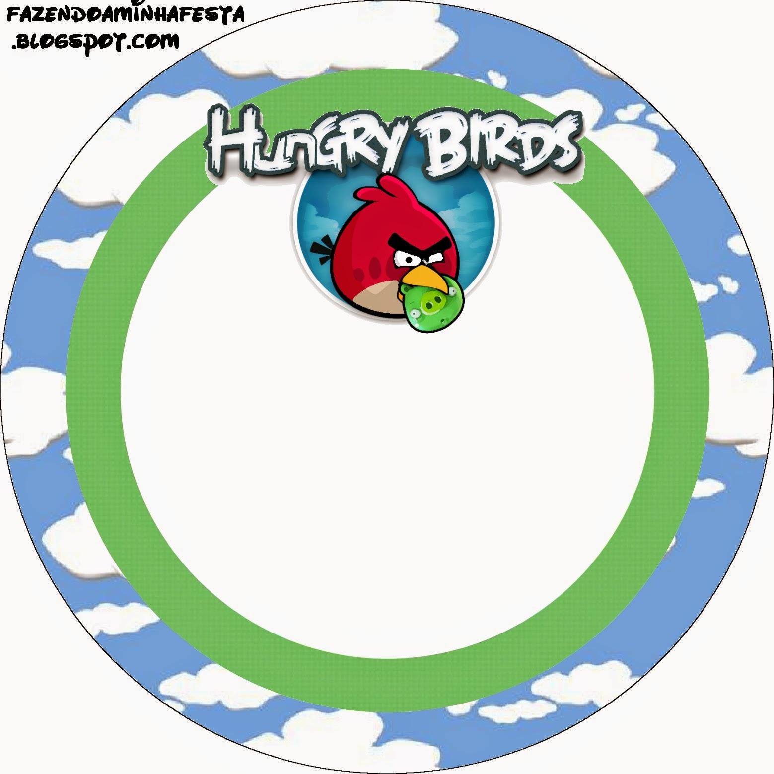 Toppers o etiquetas de Angry birds con Nubes para imprimir gratis.