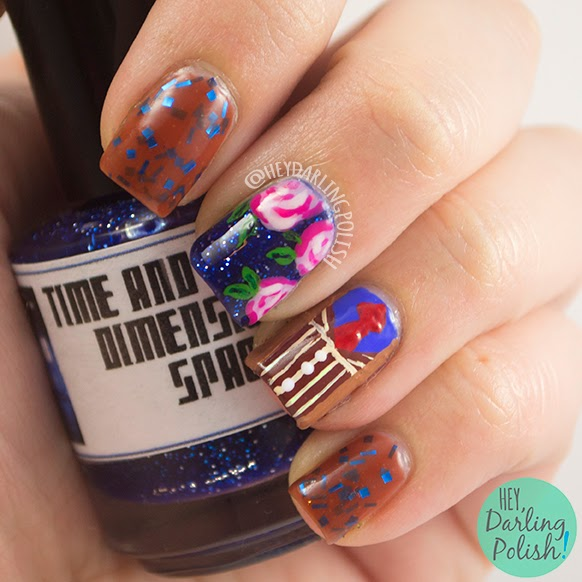 nails, nail art, nail polish, polish, indie polish, doctor who, 10th doctor, rose, brown, the never ending pile challenge, tgpnpc
