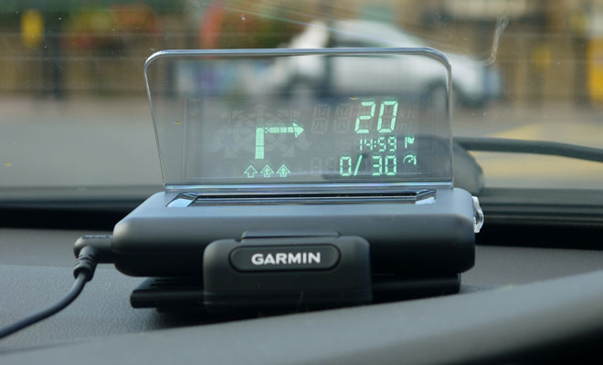 Garmin Hud+ showing lane guidance