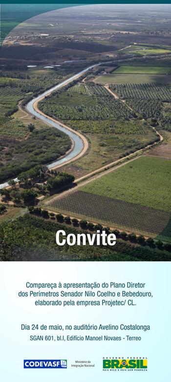 Convite: Apresentação do Plano Diretor dos Perímetros de Irrigação Senador Nilo Coelho e Bebedouro