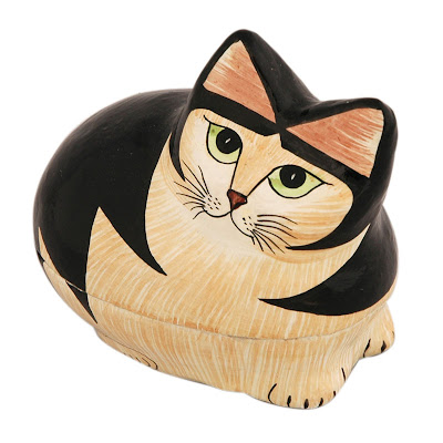 Papier Mache Cat Box (Black) India